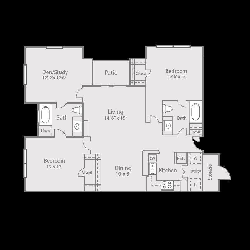 1,207 sq. ft. B3D/Oak floor plan