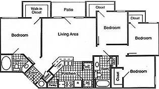 1,280 sq. ft. 60% floor plan