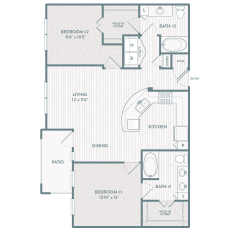 1,089 sq. ft. B3 floor plan