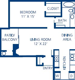713 sq. ft. A3 floor plan