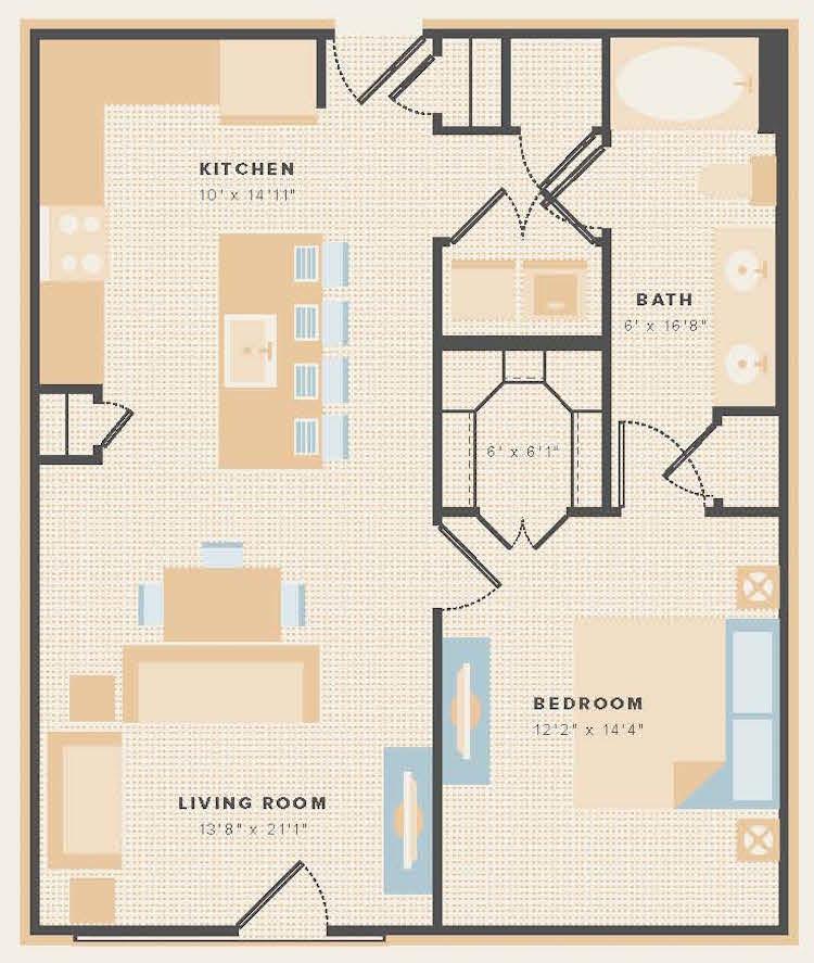 806 sq. ft. A12 floor plan