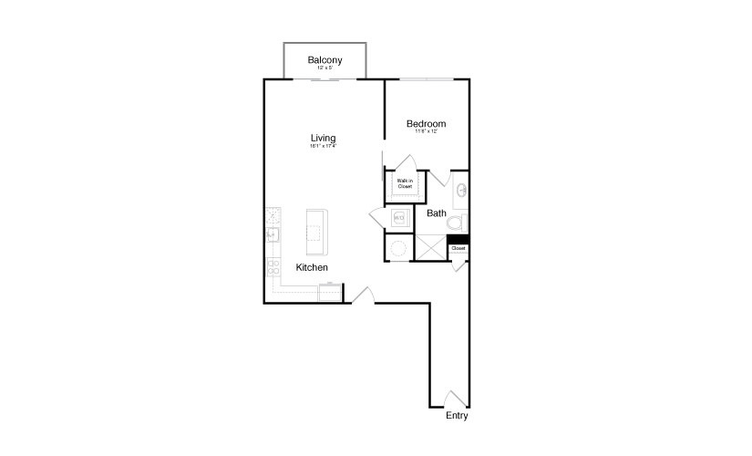 1,002 sq. ft. A12 floor plan