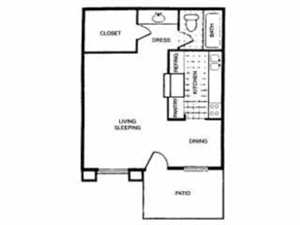 418 sq. ft. A floor plan