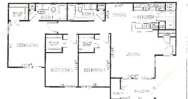 1,291 sq. ft. to 1,368 sq. ft. C1 floor plan