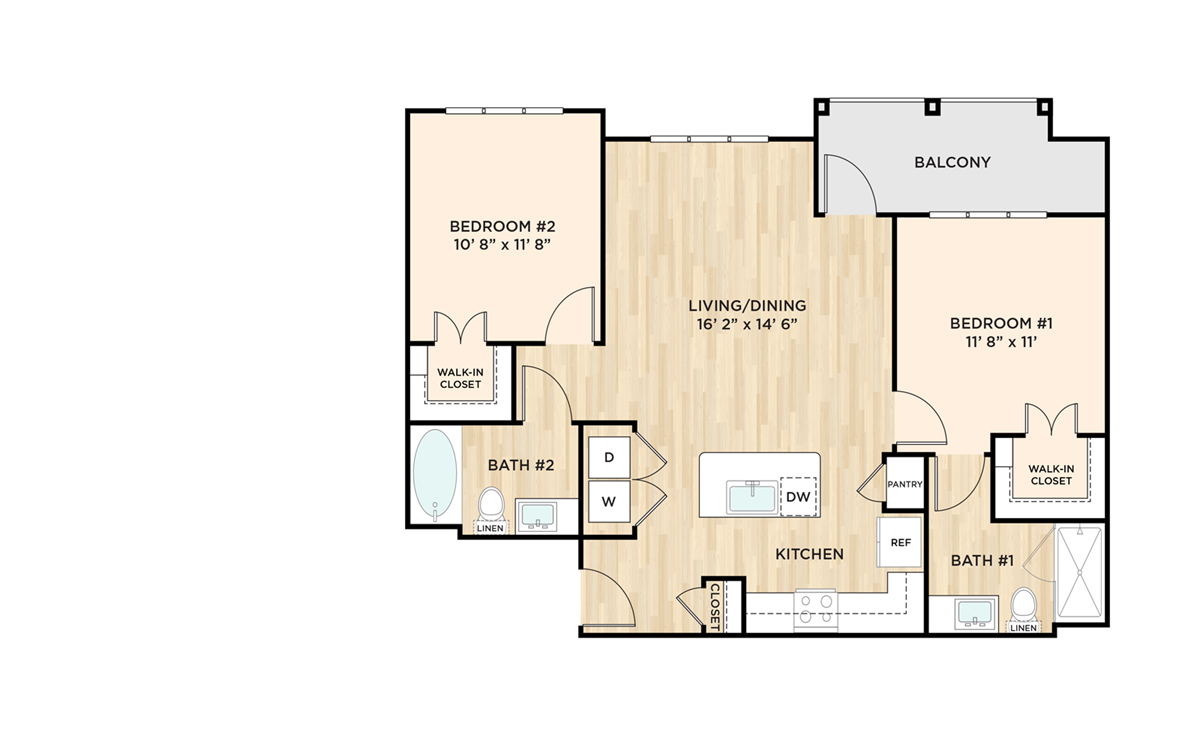 986 sq. ft. to 1,060 sq. ft. B1 floor plan
