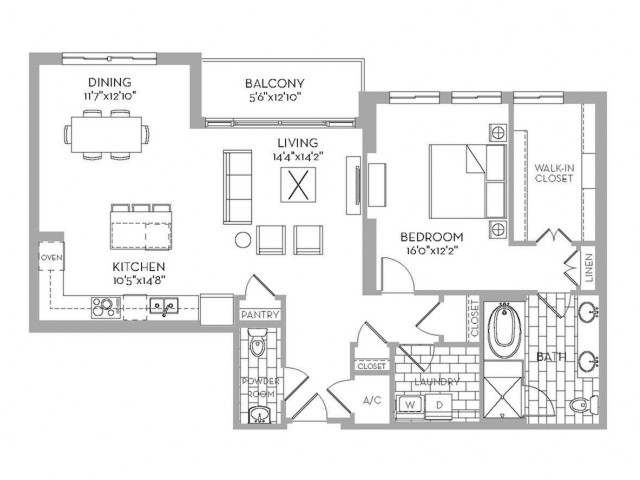 1,280 sq. ft. Preston(A.5) floor plan