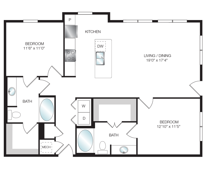 1,194 sq. ft. B3.3 floor plan