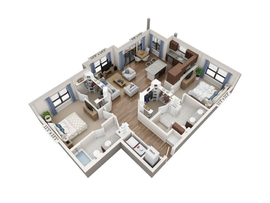 1,233 sq. ft. Virtuoso floor plan