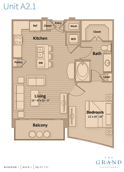 725 sq. ft. A2.2 floor plan
