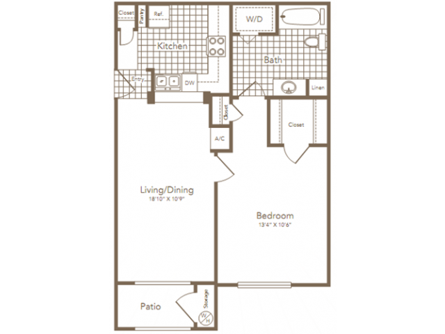658 sq. ft. HERMANN floor plan