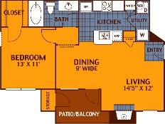680 sq. ft. CEDAR/A2 floor plan