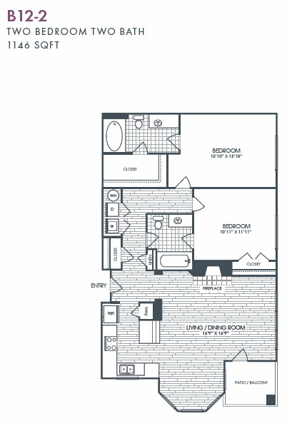 1,146 sq. ft. B12-2 floor plan