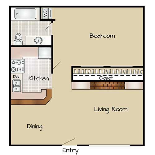 725 sq. ft. A3 floor plan