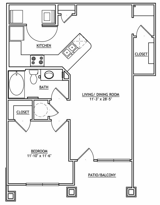 952 sq. ft. AA2GU floor plan