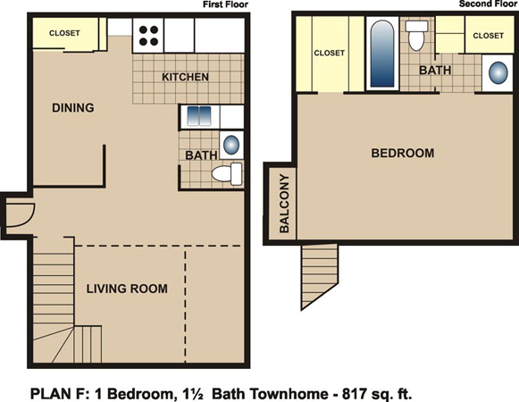 817 sq. ft. F floor plan