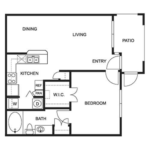 680 sq. ft. A-60 floor plan