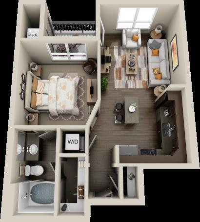 590 sq. ft. Mesquite floor plan