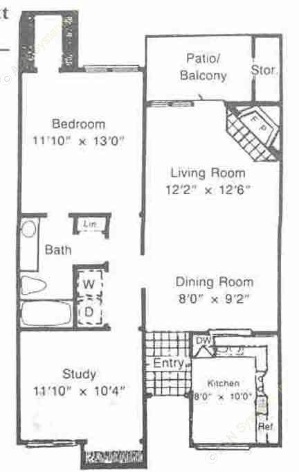 900 sq. ft. B1 floor plan