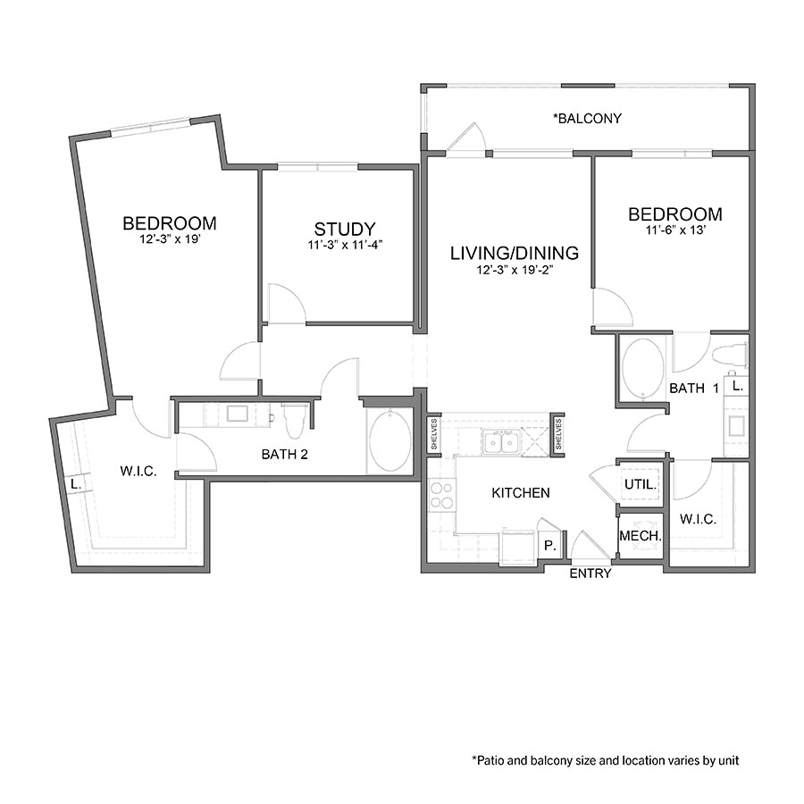 1,492 sq. ft. B6 floor plan