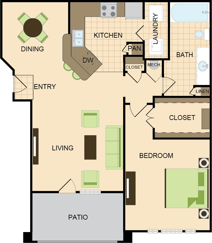 801 sq. ft. A floor plan