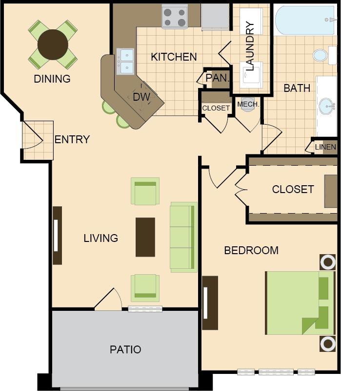 801 sq. ft. A floor plan