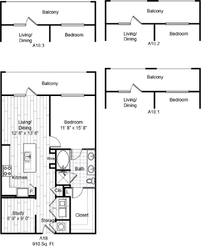 910 sq. ft. A18 floor plan