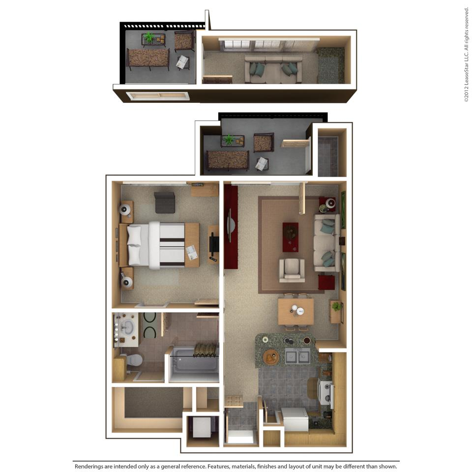 640 sq. ft. ALBANY floor plan