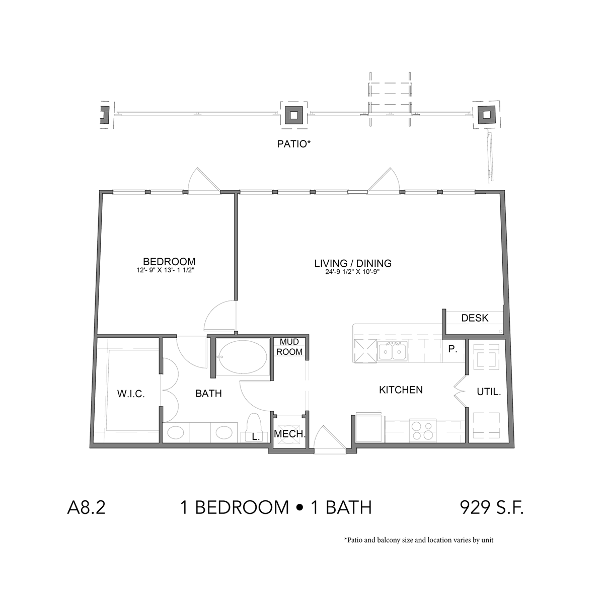 929 sq. ft. A8.2 floor plan
