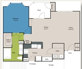 865 sq. ft. A2 floor plan