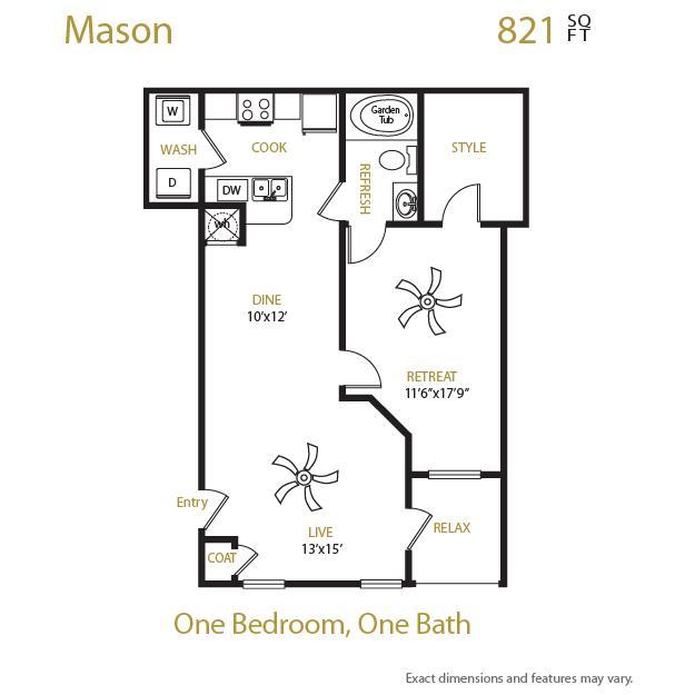 821 sq. ft. Mason floor plan