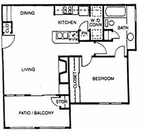 675 sq. ft. D floor plan
