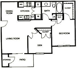 821 sq. ft. B floor plan