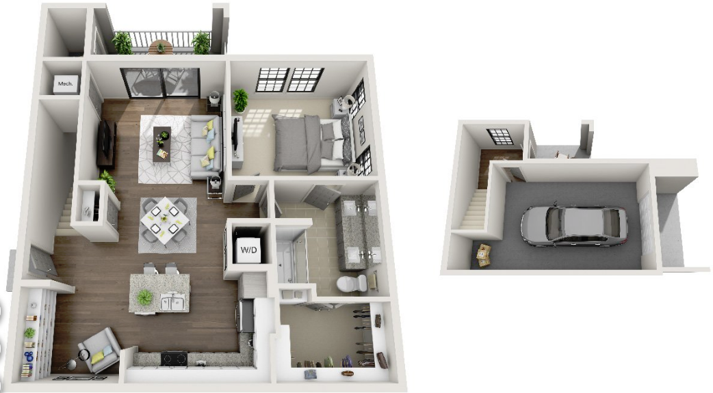 1,041 sq. ft. A7 floor plan