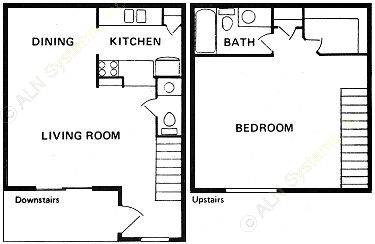 875 sq. ft. SA-1 floor plan