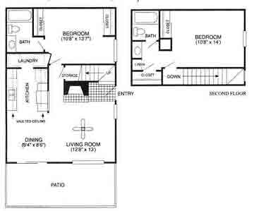 980 sq. ft. Highlander/B3TH floor plan