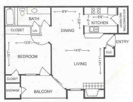 683 sq. ft. 1C floor plan