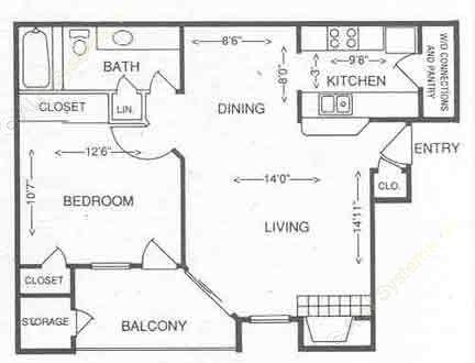 683 sq. ft. 1C floor plan