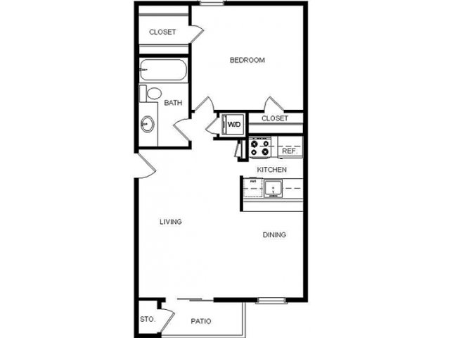 576 sq. ft. I/C1 floor plan