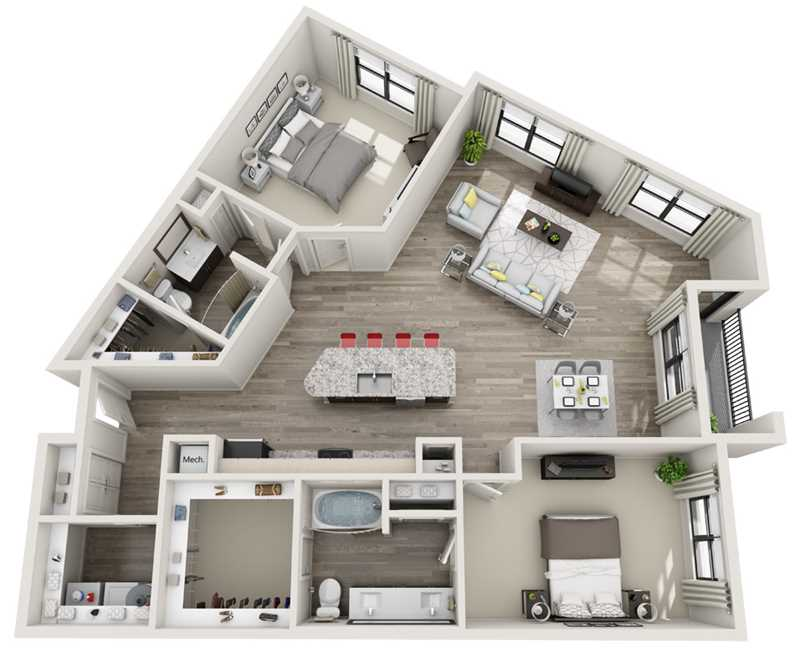 1,558 sq. ft. B4 floor plan