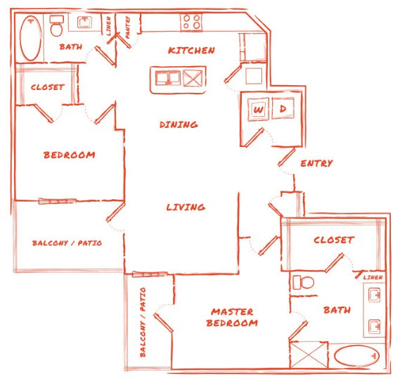 1,176 sq. ft. B6 floor plan