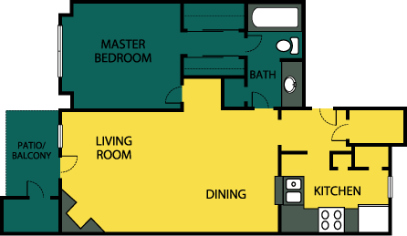 740 sq. ft. Indulge floor plan