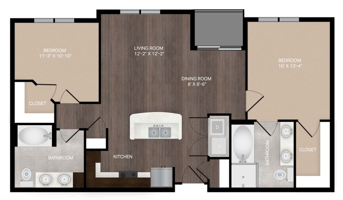 1,028 sq. ft. B0 floor plan