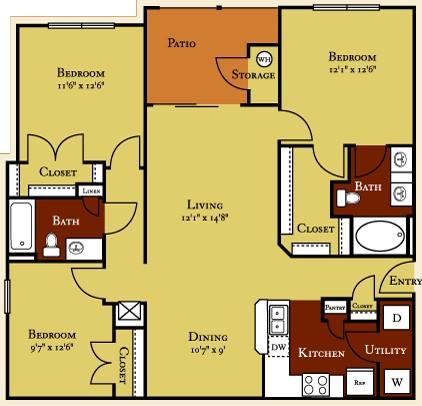 1,230 sq. ft. C1 floor plan