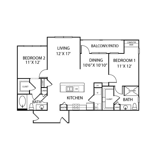 1,222 sq. ft. B3A floor plan