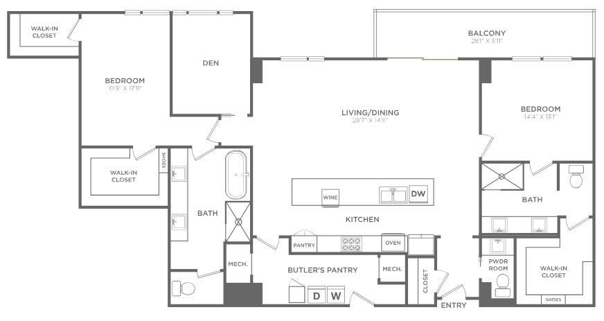 2,169 sq. ft. PH5 floor plan
