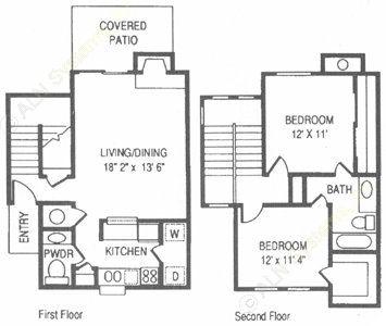 1,001 sq. ft. RO floor plan