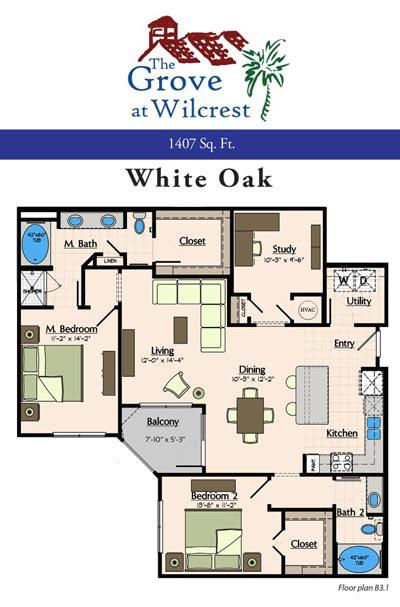 1,407 sq. ft. B3.1 floor plan