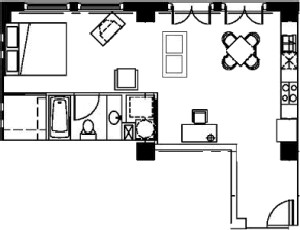 592 sq. ft. floor plan