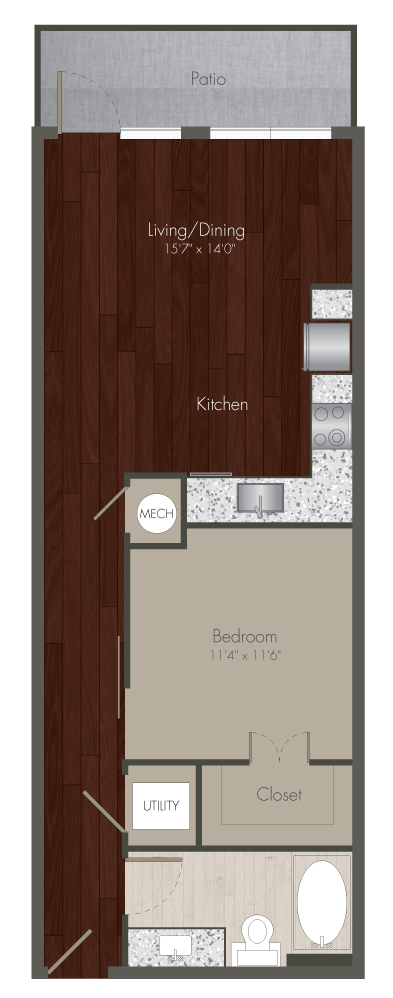 679 sq. ft. to 708 sq. ft. A1 ALT floor plan
