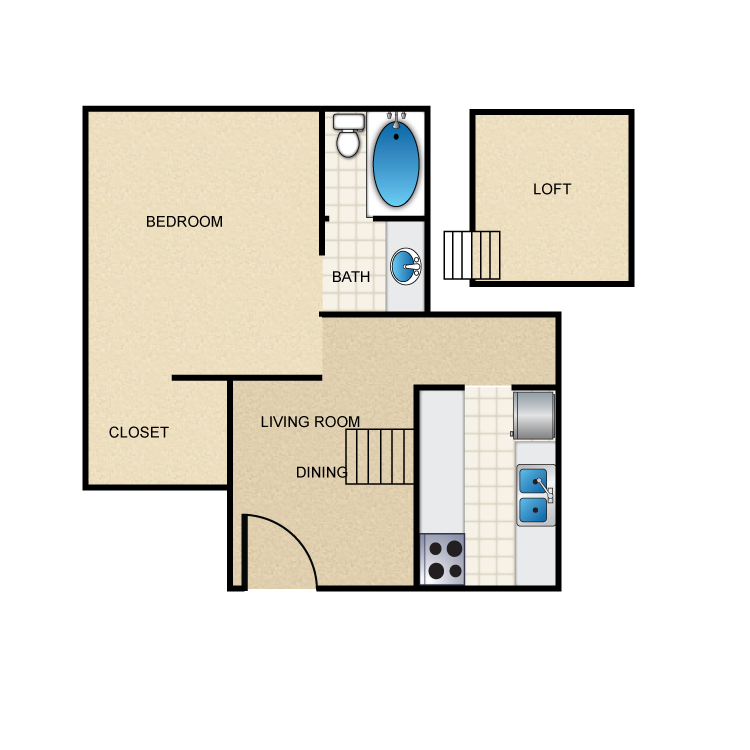 467 sq. ft. E2 floor plan